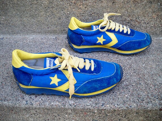 Vintage CONVERSE Blue & Yellow Low Top Leather Hip