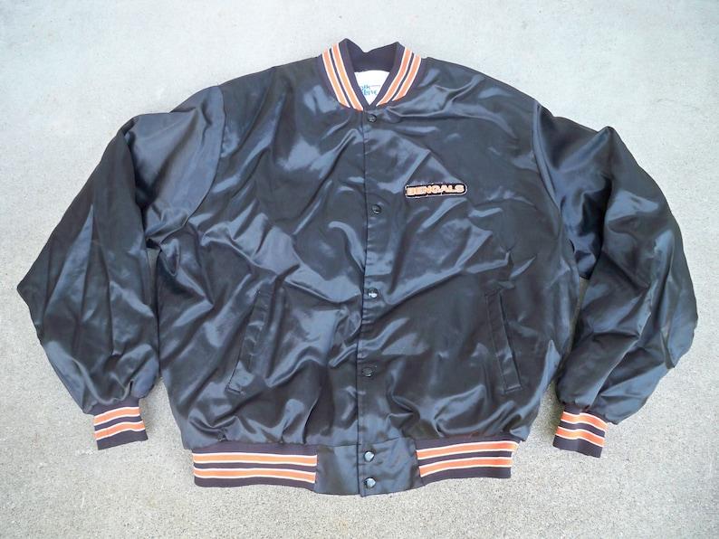 fe5654fe Vintage Cincinnati Bengals NFL Satin Nylon Chalk Line Made in USA Brown  Jacket Coat Size Xlarge
