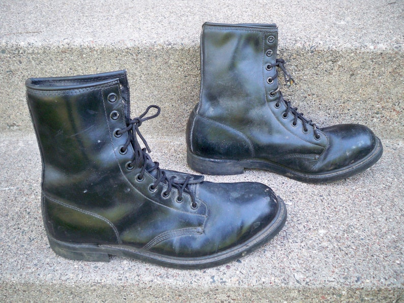 4cd66d1337d Vintage Steel Toe Boots Lehigh Black Leather Combat Military Engineer Moto  Goth Made in USA Men's Size 10