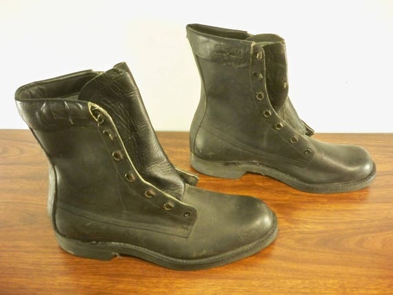 4da552bd547 Vintage Craddock Made in USA Men's Combat Military Work Motorcycle Riding  Soft Toe Black Leather Boots Dated 1985 Size 11