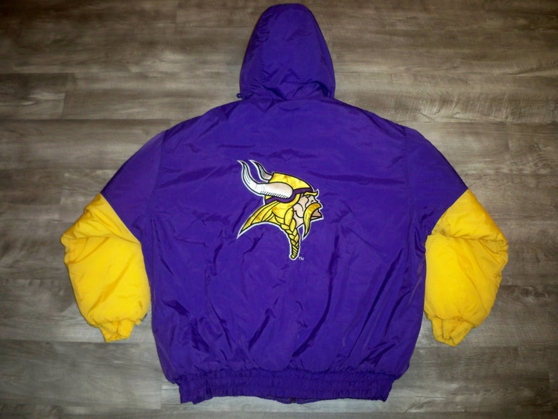 quality design da7d1 dbb41 Vintage Minnesota Vikings NFL Logo 7 Football Parka Jacket Coat Men's Size  XL Xlarge Made in Korea