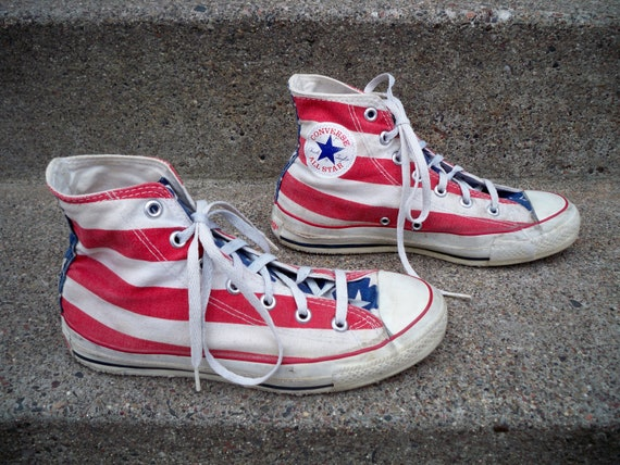RARE Vintage Converse All Star Shoes Men's Stars Stripes Made in USA Kicks Size 6
