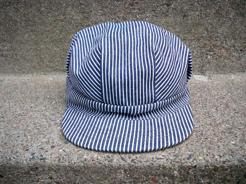 a1c9dfdffd5 Vintage Broner Railroad Conductor Engineer Stripe Cap Hat Size