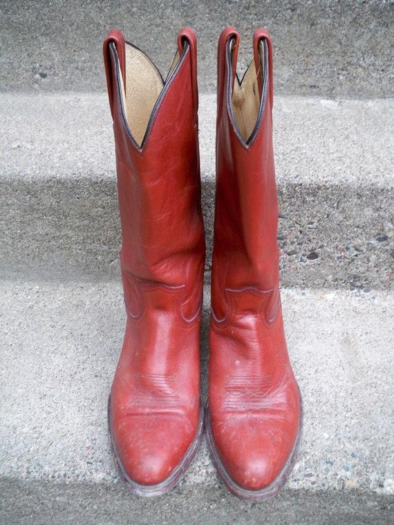hommes rouge semelle taille 12 sang cuir bottes Vintage Enfiler Made FRYE in USA en Cowboy Western point qR0WgE