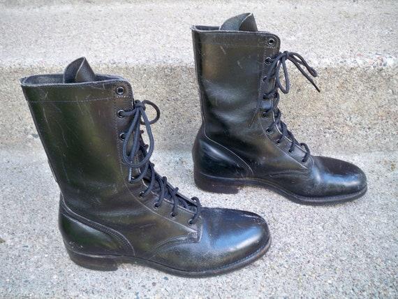 Vietnam Vintage époque cuir Wo Wo Wo  Combat grand-mère Steampunk Punk noir Soft Toe bottes taille 7,5 Made in USA par Addison chaussure Corp 0033bc