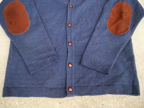 Sweater Preppy Tall Leather Cardigan Bauer Made Eddie in Size Men's USA XL Elbow Patches Vintage Wool nwW8gxqw7