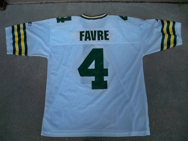size 40 4e4b1 48627 Vintage Starter Brett Favre Green Bay Packers HOF NFL Football White Jersey  Uniform Size 52 / XLarge Made in Korea