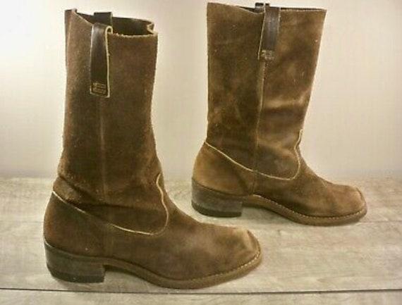 Vintage Brown Suede Leather Campus Chunky Platform