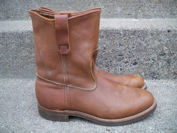 Boots Pull 9 Toe Made Soft On Western L USA Leather Cowboy in Size Bean Men's L Brown Vintage Cork Sole WHqRfagBY