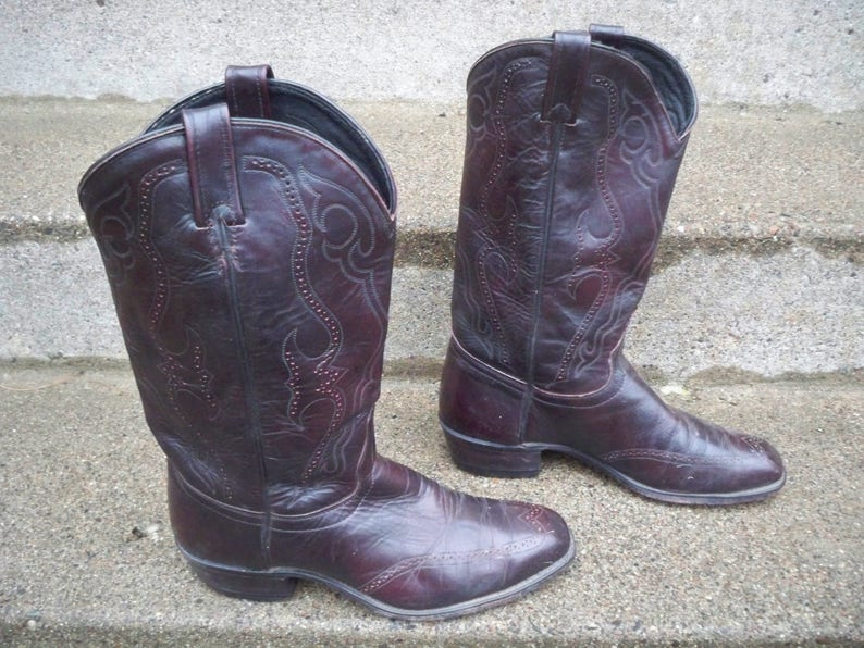 85ca8cbbb53 Vintage J Chisholm Brown Leather Cowboy Men's Rancher Western Country  Rocker Riding Wingtip Boots Made in USA Size 10.5
