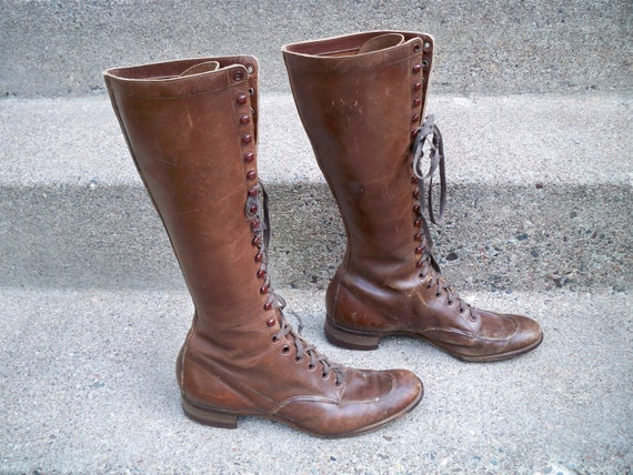 8 Tall Leather Size Vintage Riding 21 Depression Era Eye Up Boots Granny Lace Victorian Women's XZ6Fq