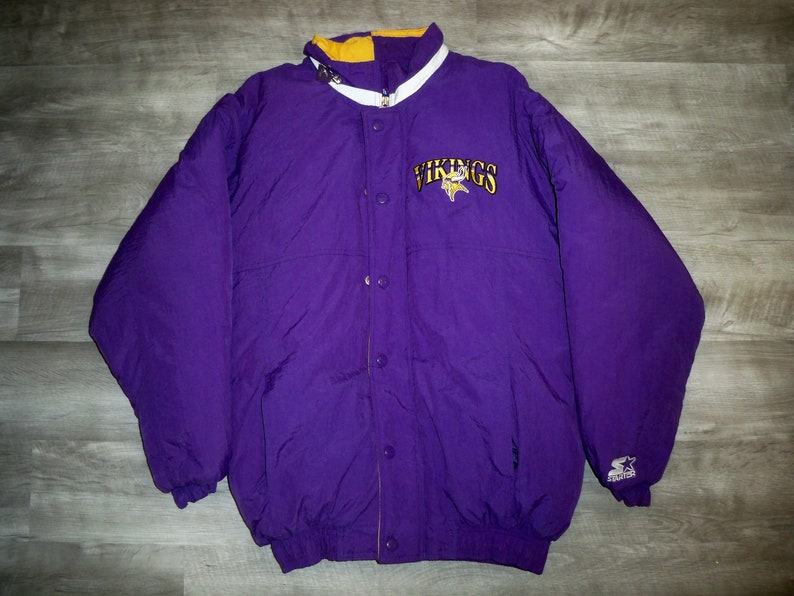 promo code 340b6 1397e Vintage Starter Minnesota Vikings NFL Purple Football Parka Coat Jacket  Men's Size Medium Made in Korea