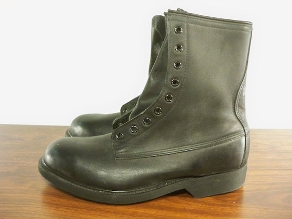 Leather Boots Size the Toe Combat Steel 5 Wolverine Black Punk 7 in Wide Vintage Chopper 1990's Made USA Men's Biker pqtwP