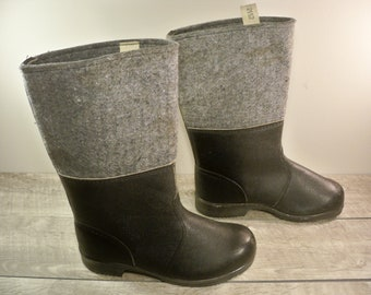 Vintage Eastern Front Gray Wool & Black Leather Mens Snow Winter Military Combat Marching Riding Boots Size 9