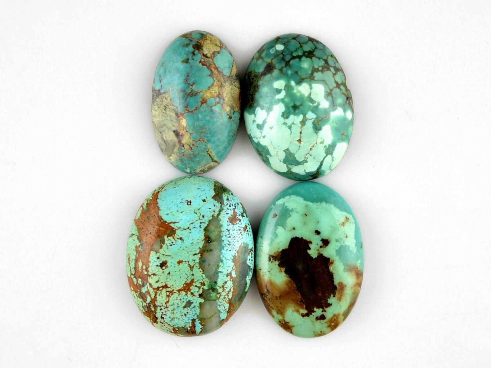 4 Pcs vert vert vert Campitos Turquoise Cabochons American turquoise fait à la main turquoise cabochon pierre de Turquoise naturelle 21 x 12 25x19mm 90Cts n ° 2969 9efab6