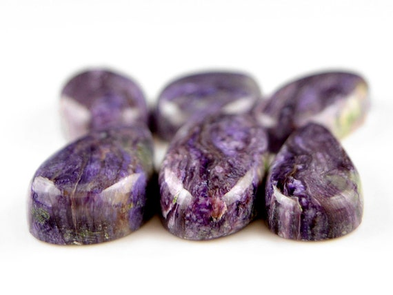 6 Pcs violet Charoite lâche pierre naturelle naturelle naturelle charoite Cabochon violet charoite russe Pierre charoite lâche Pierre 22 x 16-32x15mm, 144Cts #2224 4d04f2