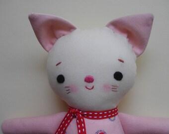 Mini Kitty Plushie - Handmade cloth doll, ragdoll, baby toy toddler toy plush toy stocking stuffer
