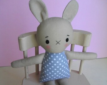 Sweet Bunny Plush - Handmade soft bunny toy, ragdoll, baby toy, toddler toy
