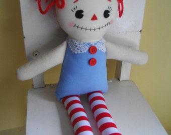 ZOMBIE RAGDOLL  - Handmade zombie Raggedy Ann Rag Doll kids toy plushie