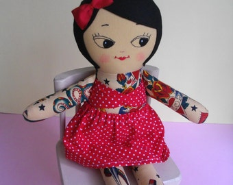 Tattoo Girl - Handmade tattoo doll, Ragdoll plush toy