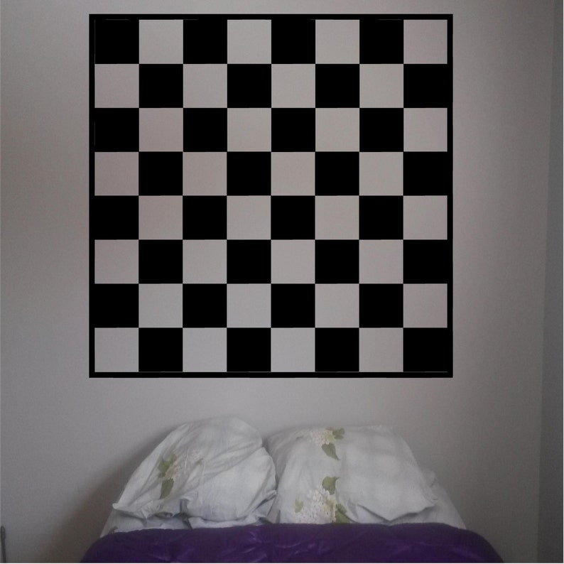 Chess Checker board vinyl decal Wall art decor vinyl decal Create your own  playing surface