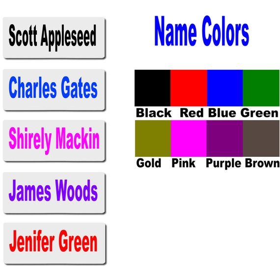 5 Personalized Name Tags 1x3 Name Badges Magnetic Etsy