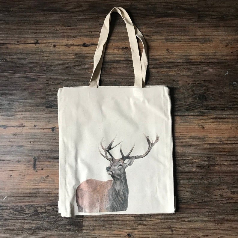 Wildlife tote bag High quality 10oz Cotton shopping fox hare foal stag mouse barn owl deer