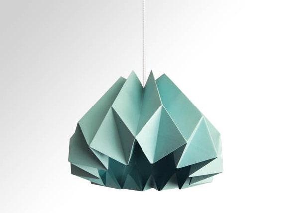 Pumpkin Origami Paper Lamp Shade Turquoise