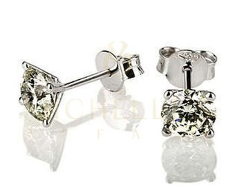 69c96d364 2.30 Carat Diamond Earrings Round Cut Solitaire 4 Prong 14 Karat White Gold  Screw Back Diamond Studs