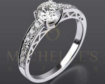 1.30 Carat Diamond Round Women/'s Wedding Necklace Pendant Earrings Jewelry Set