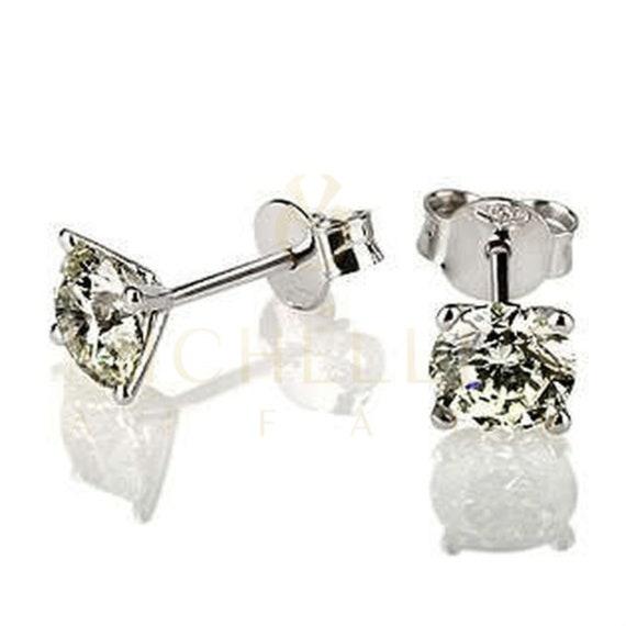 14KT White Gold Round Enhanced Diamond Stud Earrings 0.80 CT F//VVS2