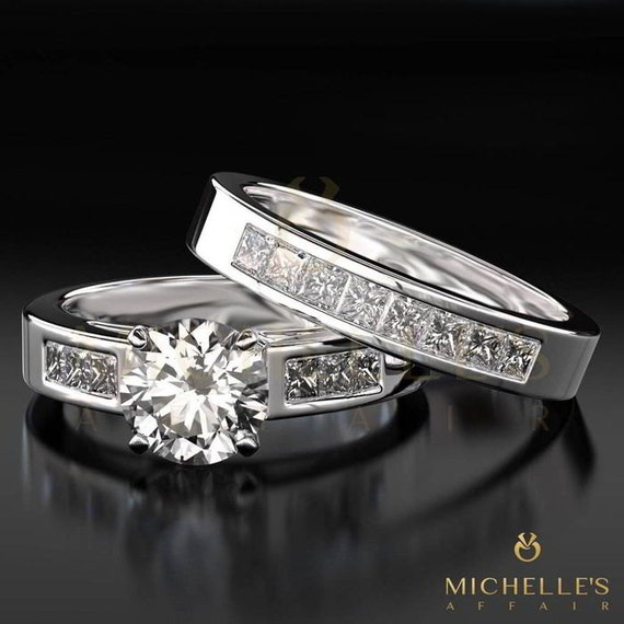 Diamond Band Set Ring 2.2 Ct Vs1 D Round Brilliant 14 Karat White Gold Complete In Specifications Fine Jewelry