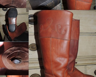 5f63c36fd VS000008 Vintage Etienne Aigner Cognac Brown Tall Equestrian Riding Boots  Scroll Stitching Flat Heel Rustics -By God Oddities Decor on Etsy