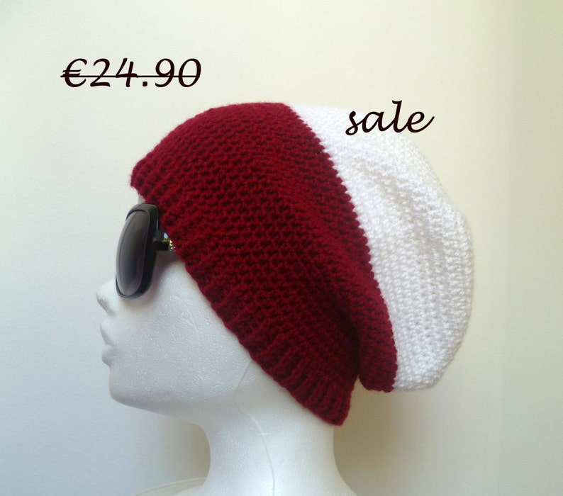 267c2d2fc1f57 SALE White Red Unisex Beanie Hat Mens Slouch beanie Womens