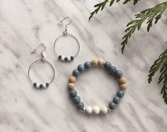 Blue Agate Aromatherapy Bracelet - Essential Oil Jewelry - Diffuser Bracelet - Crystal Bracelet - Tassel Jewelry - Meditation - Yoga - Gift
