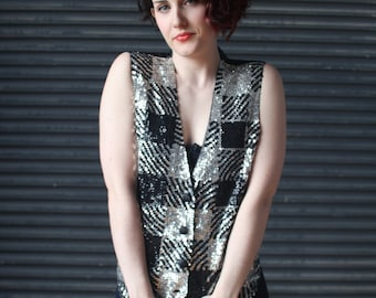 Vintage ladies sequined vest in black and silver gingham check,1990s