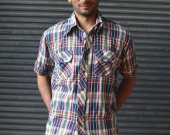 Vintage mens short-sleeve plaid shirt in navy, maroon and green,1970s