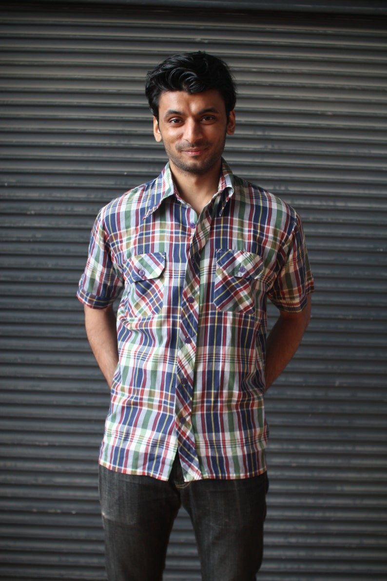 Vintage mens short-sleeve plaid shirt in navy maroon and image 0
