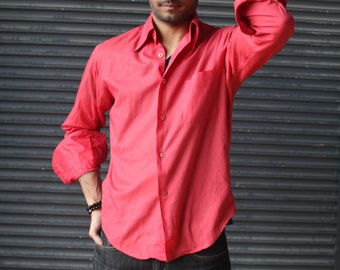 Vintage smart french-cuff dress shirt in watermelon red, 1970s