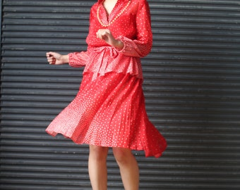 Vintage peplum dress in red with white polkadots, 1970s