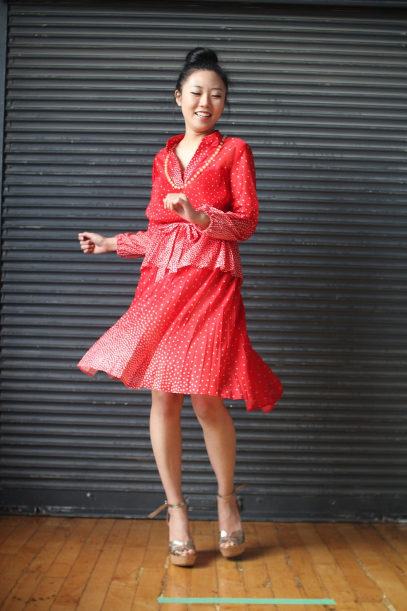 Vintage peplum dress in red with white polkadots 1970s image 0