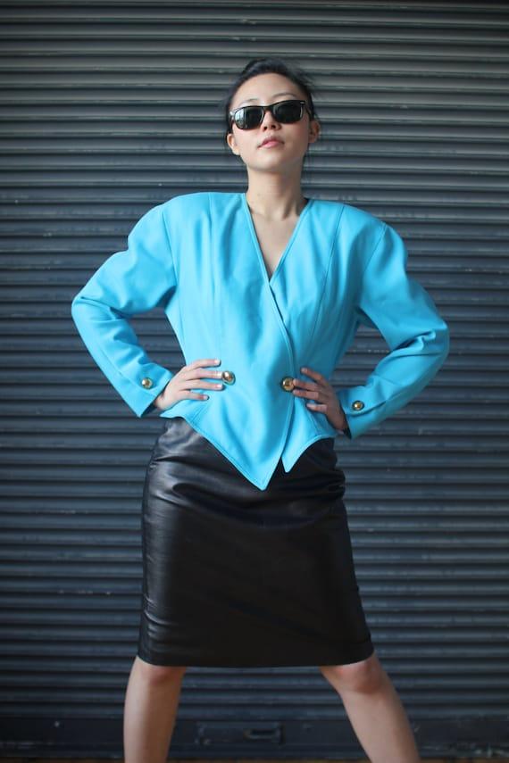 Vintage ladies turquoise power-shouldered wrap jac