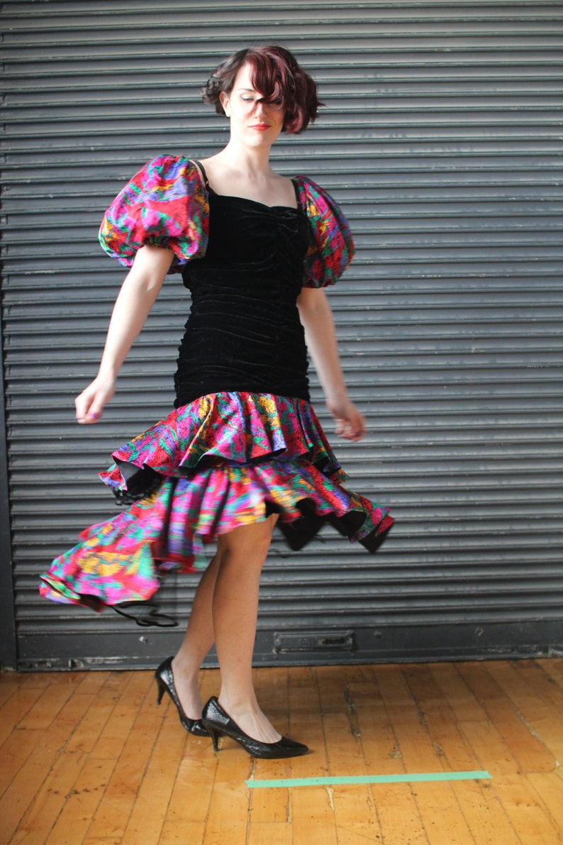 Vintage fun and flashy cocktail dress in black velvet and image 0
