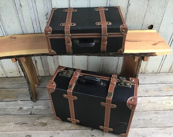 Pair of Black Leather Suitcases