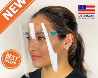 1PCS, A Yue668 Face Scarf Mini Shield Washable Reusable Comfortable Face Towel Transparent PVc Visual Face Cover