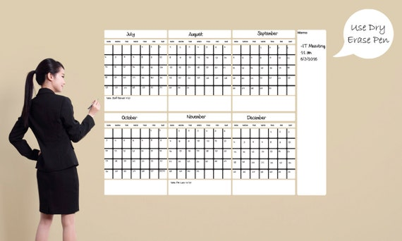 Large Dry Erase Calendar Dry Large Erase Calendar 6 Month Etsy