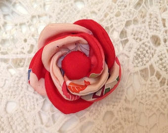 Corsage, Flower Pins, Japanese, antique, vintage, Kimono fabric, red/pink, perfect gift