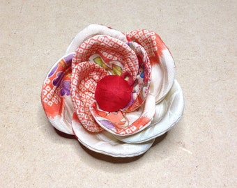 Corsage, Flower Pins, Japanese, antique, vintage, Kimono fabric, yellow/red, perfect gift