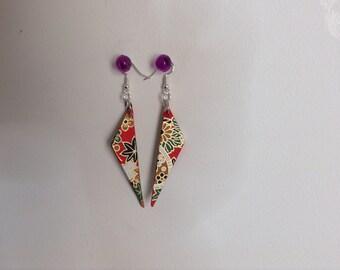 Handmade earrings 2 for 15 Dollars / Japanese paper / oblong triangle