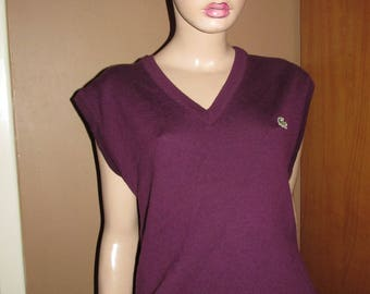 Vintage Lacoste sleeveless top.Lacoste made in France.Purple wool sleeveless pullover.Vintage wool pullover.